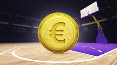 golden Euro coin on basketball court at arena - stock illustration