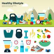 Healthy Lifestyle Sport Proper Nutrition - stock illustration