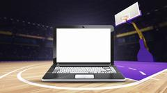 laptop with empty screen on basketball court at arena - stock illustration