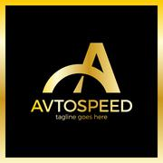 Letter A Logo - Auto Speed. Luxury, royal, gold metal Stock Illustration
