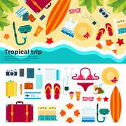 Kit for tropical trip on sand - stock illustration