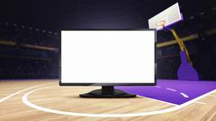 Empty TV screen on basketball court at arena Stock Illustration