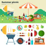 Summer Picnic on Meadow under Umbrella - stock illustration
