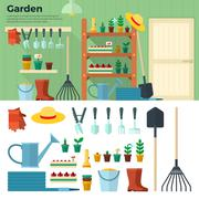 Concept of Gardening. Tools for Working in Garden - stock illustration
