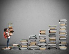 Course of study for a little girl - stock photo