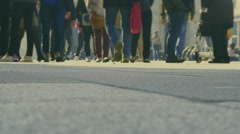 Crowdy walkway in the modern city - stock footage