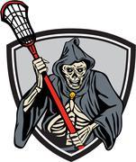 Grim Reaper Lacrosse Player Crosse Stick Retro - stock illustration