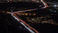 Los Angeles Day to Night Freeway Mountainview Time Lapse with Zoom Stock Footage