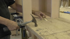 Panning Cabinetmaking in workshop. Stock Footage