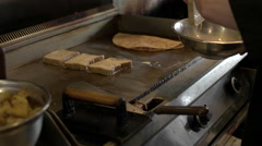 French Toast being Made on Restaurant Grill. Stock Footage