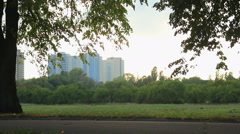 Nice summer evening in city park, woman rollerblading, boy riding kick scooter Stock Footage