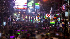 Bangla Road Patong Timelapse Stock Footage