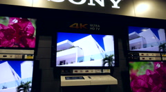 Best buy's boxing day sale on display 4k Sony tv Stock Footage