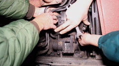 Repair the engine of the tractor Stock Footage