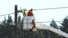 Power Line Maintenance Stock Footage