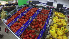 Vegetables at supermarket Stock Footage