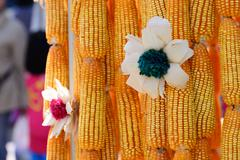 Beautiful flower made from corncob, Thai handcraft product. - stock photo