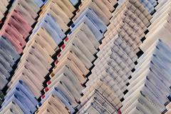Row of folded handkerchief for visitor. Stock Photos