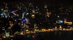 Shanghai aerial night city view with traffic. 4K time lapse. Stock Footage