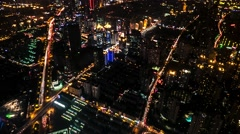 Shanghai aerial night city view with traffic. 4K time lapse, long shutter speed Stock Footage