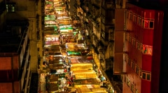 Hong Kong night market aerial street view. 4K resolution time lapse. Stock Footage