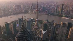 Shanghai sun set aerial city view with skyscrapers and Oriental Perl Tower. 4K Stock Footage