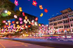 SINGAPORE - SEP 27: Chinatown street is decorated with colourful paper lanter Stock Photos