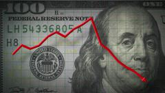 3D 4K animation profit loss chart arrow on money $100 dollar bill - stock footage