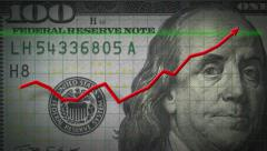 3D 4K animation profit chart arrow on money $100 dollar bill - stock footage