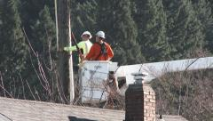 City Workers Repairing Power Line Stock Footage