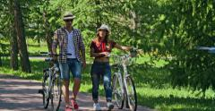 Summertime Bike Walk Stock Footage