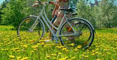 Bike Walk on Bright Day Stock Footage