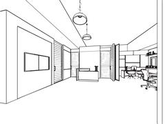 outline sketch drawing interior perspective of a space office - stock illustration
