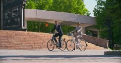 Riding Bikes to Work - stock footage