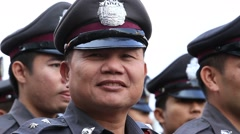 Thai policeman during the celebration of Chinese New Year in Bangkok, Thailand Stock Footage