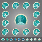 Stock Illustration of wellness theme icon vector set, tollkit placed in stamp shape