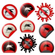 infected mosquito icon isolatedset in stamp shape - stock illustration