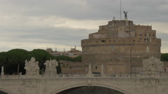 View of Ponte Vittorio Emanuele II and Castel Sant' Angelo in Rome Stock Footage