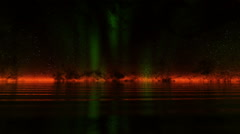 Northern lights over the Ocean Stock Footage