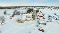 Snowy Winter in Wisconsin landscape with farms suburbs, homes. Stock Footage