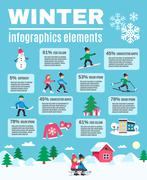Winter Season Outdoor Infographic Elements Poster - stock illustration