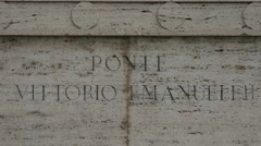 Inscription on Ponte Vittorio Emanuele II in Rome - stock footage