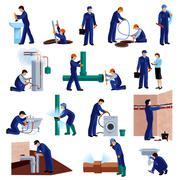 Plumber icons set - stock illustration