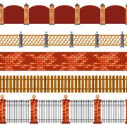 Fence Seamless Border Set - stock illustration