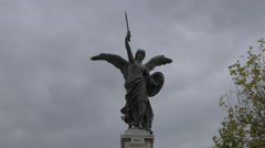 Angel statue with sword and breastplate on Ponte Vittorio Emanuele II in Rome Stock Footage