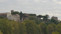 Beautiful view of trees and old buildings in Rome - stock footage