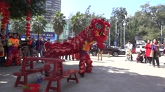 Highspeed lion dance,traditional performance in Chinese new year in guangzhou Stock Footage