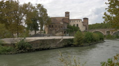 View of San Bartolomeo all'Isola church and Ponte Cestio in  Rome Stock Footage