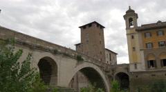 Ospedale Israelitico, Ponte Fabricio and Chiesa di San Giovani Calibita, Rome Stock Footage