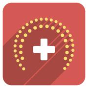 Stock Illustration of Dotted Health Care Protection Flat Rounded Square Icon with Long Shadow